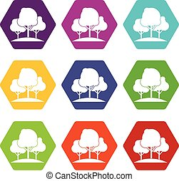 Forest trees icon set color hexahedron