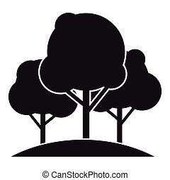 Forest trees icon, simple style