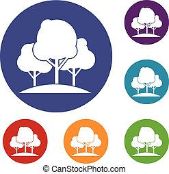Forest trees icons set