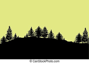 Forest trees silhouettes background