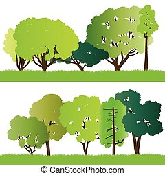 Forest trees silhouettes illustration collection background ...