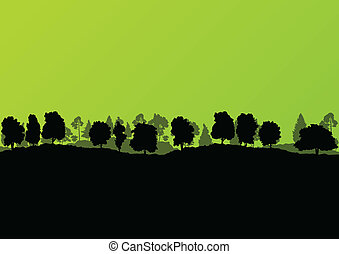 Forest trees silhouettes landscape ecology illustration background vector