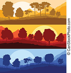 Forest trees silhouettes landscape illustration