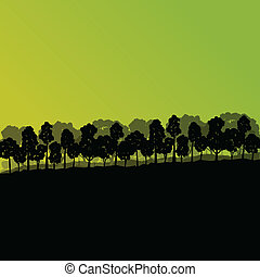 Forest trees silhouettes natural wild landscape detailed illustration background vector for poster