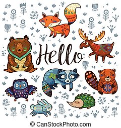 Forest tribal animals vector set - Set of cute woodland...