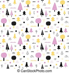 Forest vector seamless pattern with trees in yellow, violet and black colors on white background for summer holiday textile and clothing for kids