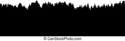 forest vector silhouette - coniferous forest horizon vector...