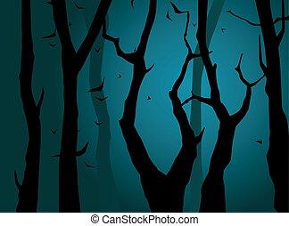 forest., vektor, natt