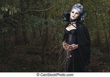forest., vestido, mulher, pretas