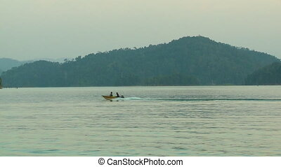 Forest View And Motorboat Sailing, Temenggor Lake - Wide...