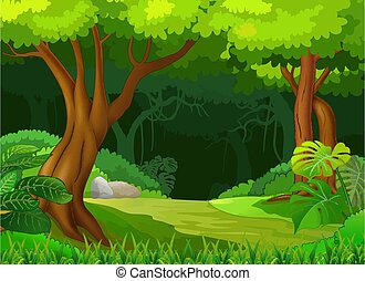 Forest View With Trees Cartoon