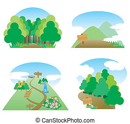 This illustration, a walk in the mountains and forests.