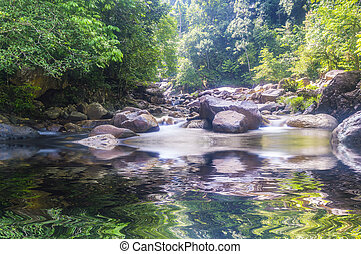 Forest waterfall - Deep forest waterfall at Kenyir lake,...