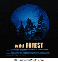Forest wildlife poster with deers silhouette