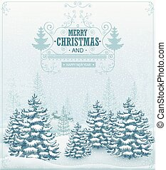 forest winter landscape - Merry Christmas and Happy New Year...