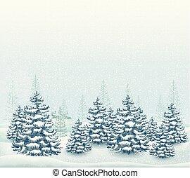 Forest winter landscape vector illustration