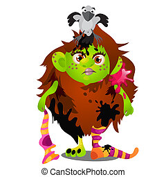 Forest witch with pet bird magpie on her head isolated on white background. Sketch for a poster or card for the holiday of all evil spirits Halloween. Vector cartoon close-up illustration.