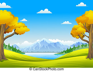 forest with big tree, mountains and rivers