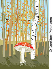 Forest with mushroom
