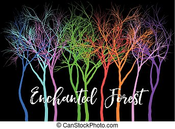 Forest with vivid colorful trees, vector illustration