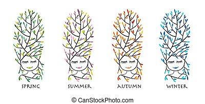 Forest woman, four season for your design