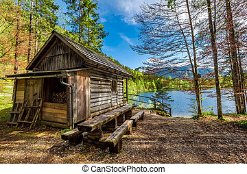 Forest wooden hut in the Alps at the lake, Europe