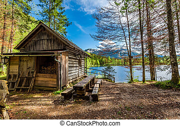 Forest wooden hut in the Alps at the lake
