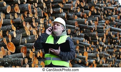 Forest workers near stacks of logs episode 1