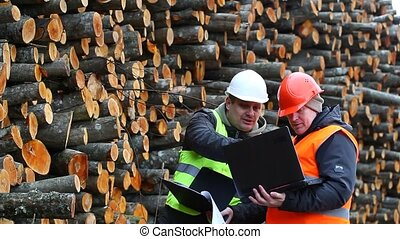 Forest workers near stacks of logs episode 2