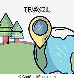 forest world gps navigation location pin tourist vacation travel