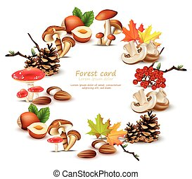 Forest wreath with mushrooms, nuts, leaves, pinecone Vector. Autumn backgrounds