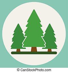 forest., zielone tło, drzewa, natura