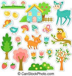 foresta, adesivi, disegno