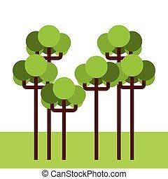 foresta albero, paesaggio, icona
