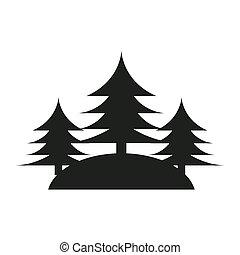foresta albero, pino, icona