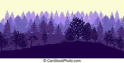 foresta, albero, silhouette, fondo