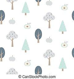 foresta blu, seamless, modello, con, apples.