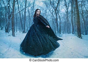 foresta, camminare, inverno, ragazza, giovane