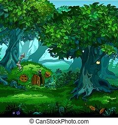 foresta, di, magic., spostamento, alberi., vettore, cartone animato, primo piano, illustration.
