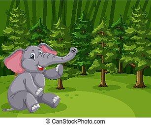 foresta, elefante, selvatico, scena, verde