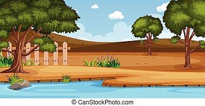 foresta, giorno, scena, sponda, o, vuoto, paesaggio, natura, campagna, orizzonte, vista, cielo