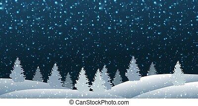 foresta, inverno, paesaggio