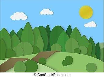 foresta, legnhe, cartone, carta, paesaggio., parco, albero verde, con, strada, vettore, illustration.