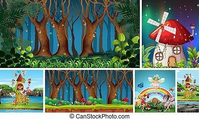 foresta, notte, fungo, casa, mondo fantasia, scena, differente, sei