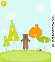 foresta, orso, cartone animato
