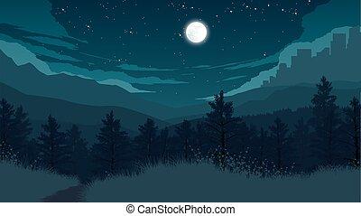 foresta, paesaggio, illustrazione