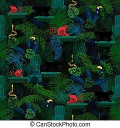 foresta pluviale, animali selvaggi, e, piante, seamless, pattern.