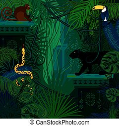 foresta pluviale, animali selvaggi, e, piante, vettore, fondo.