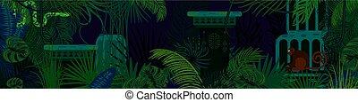 foresta pluviale, animali selvaggi, e, piante, vettore, orizzontale, fondo.