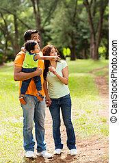 foresta, rilassante, famiglia, giovane